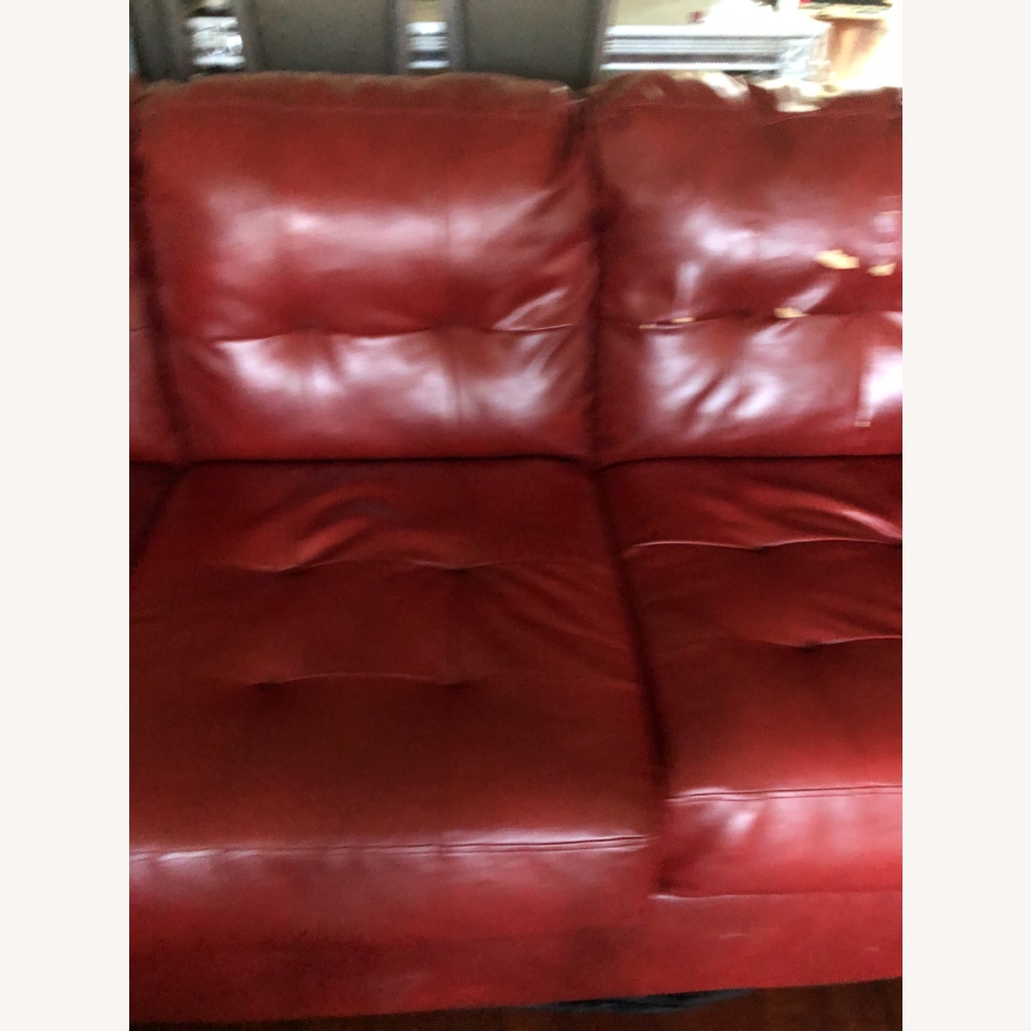 Red Leather Sofa - image-3