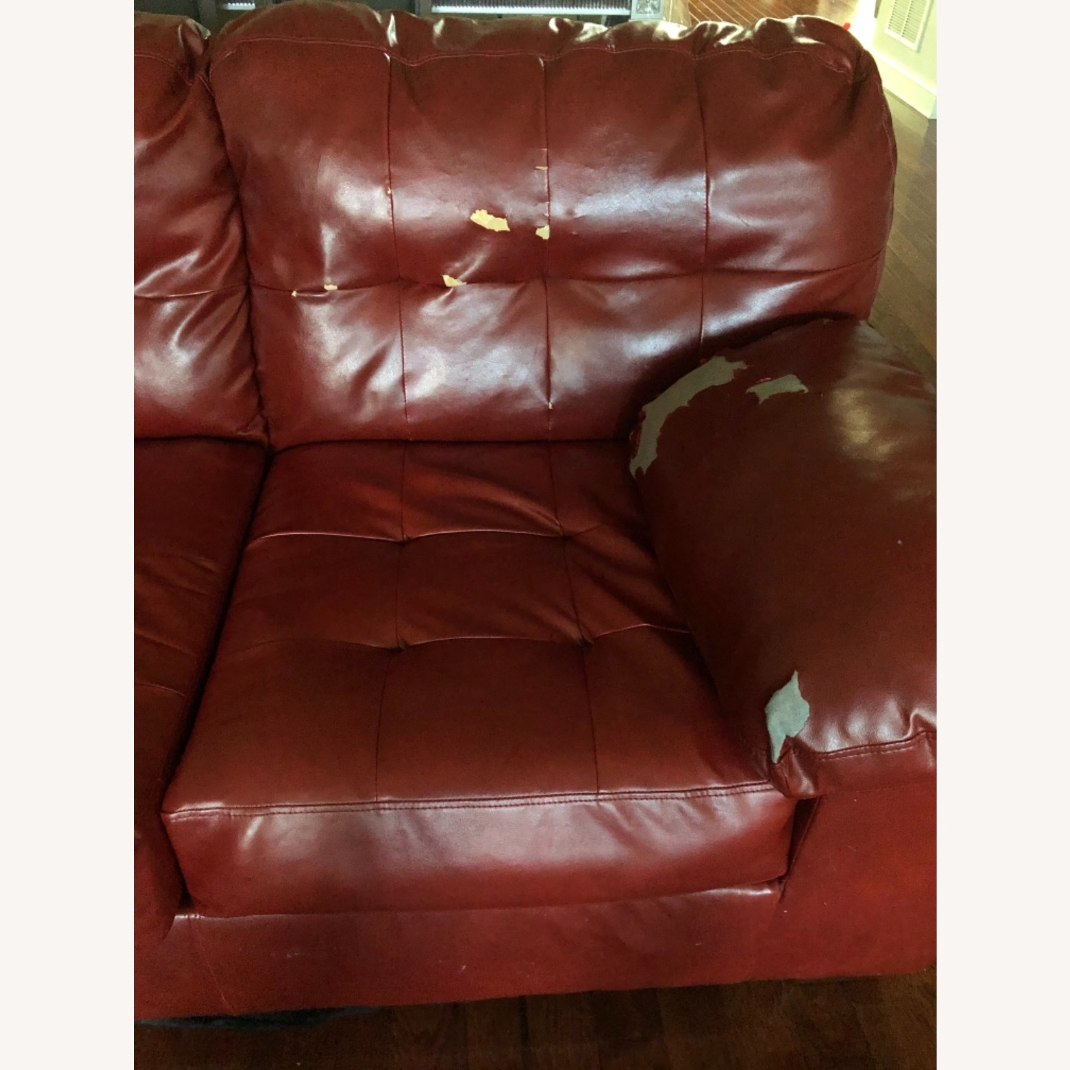Red Leather Sofa - image-4