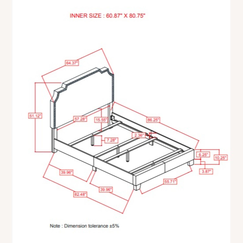 Queen Bed In Beige W/ Antique Brass Nailhead Trim - image-4