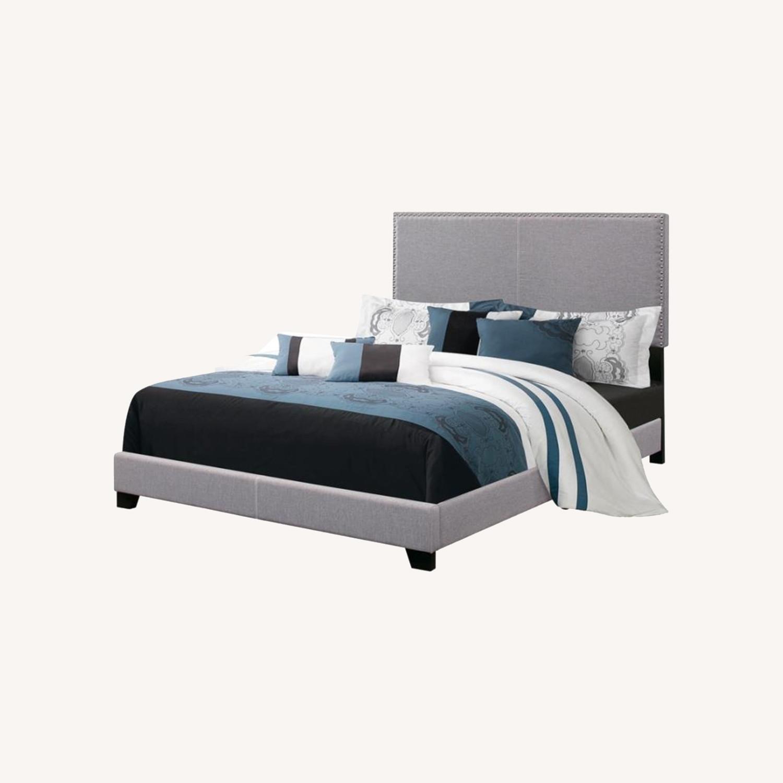 King Bed In Grey Fabric W/ Chrome Nailhead Trim - image-3