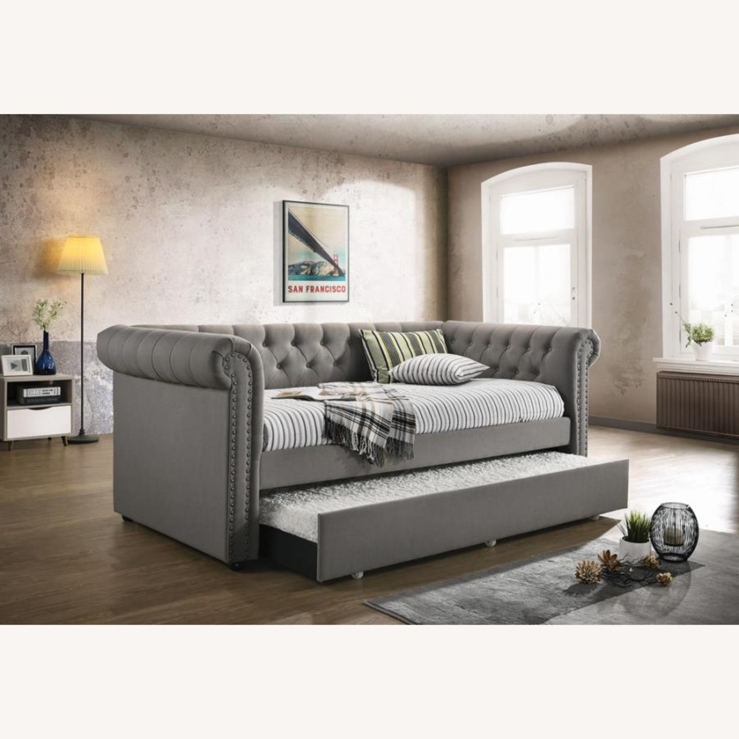 Twin Daybed W/ Trundle In Grey Fabric Upholstery - image-1