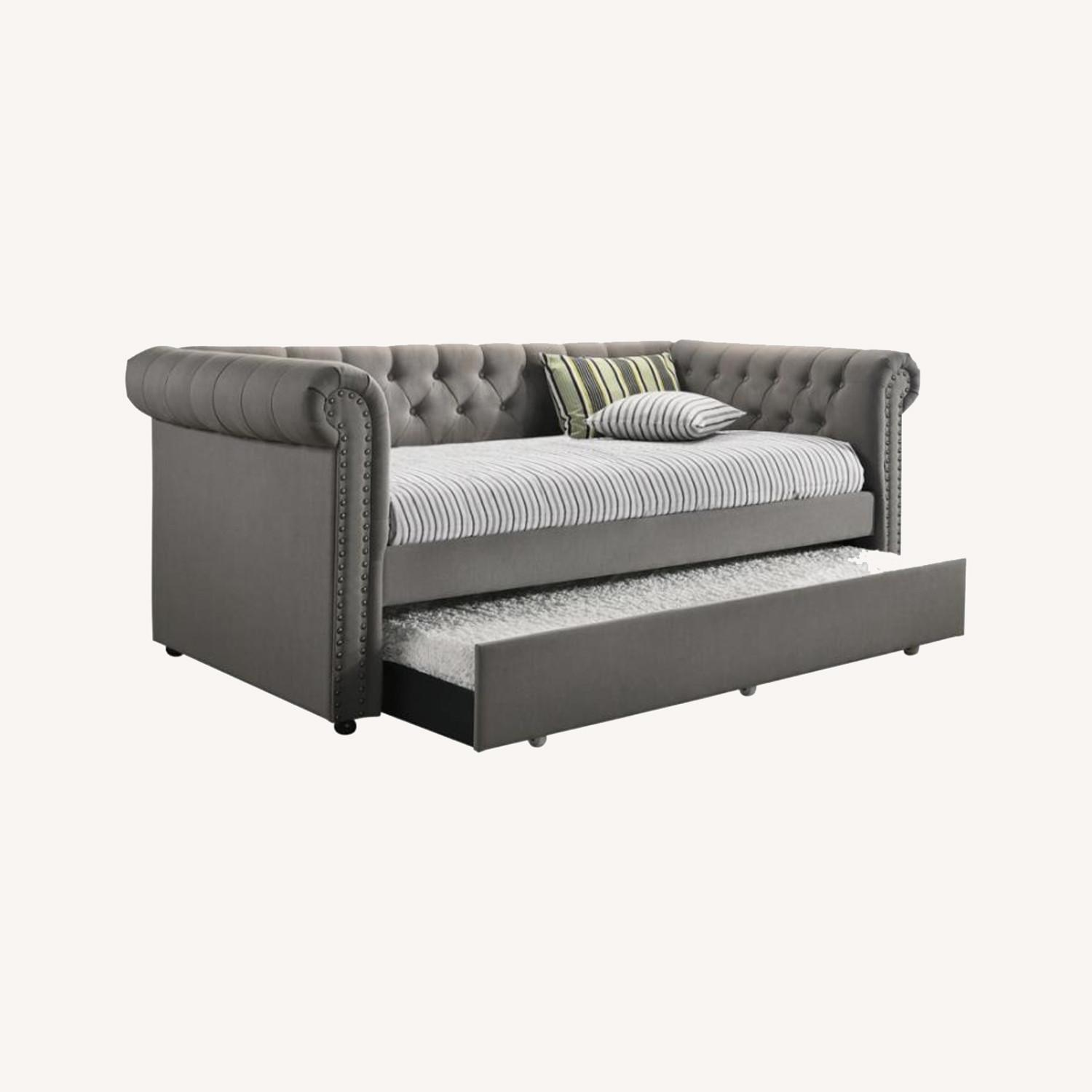 Twin Daybed W/ Trundle In Grey Fabric Upholstery - image-3