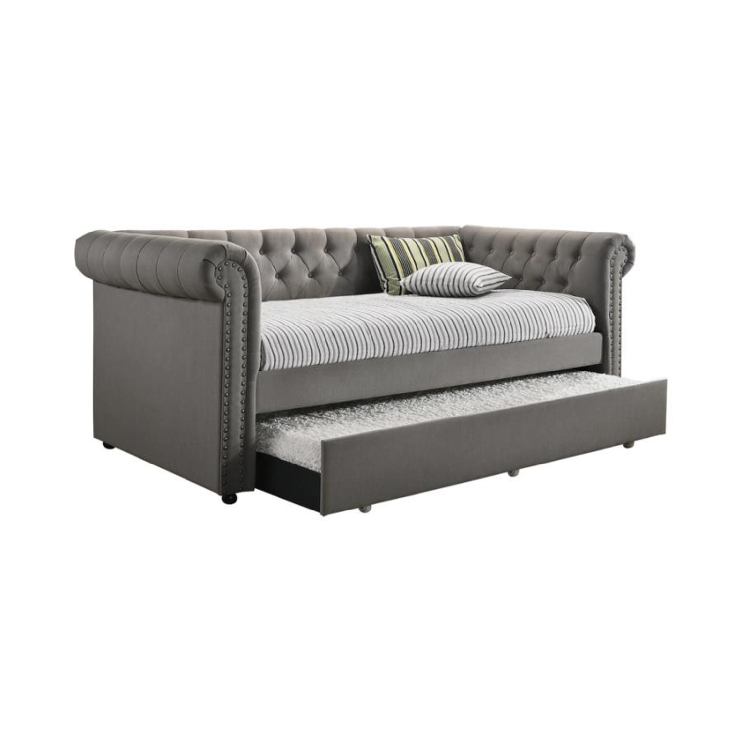 Twin Daybed W/ Trundle In Grey Fabric Upholstery - image-0