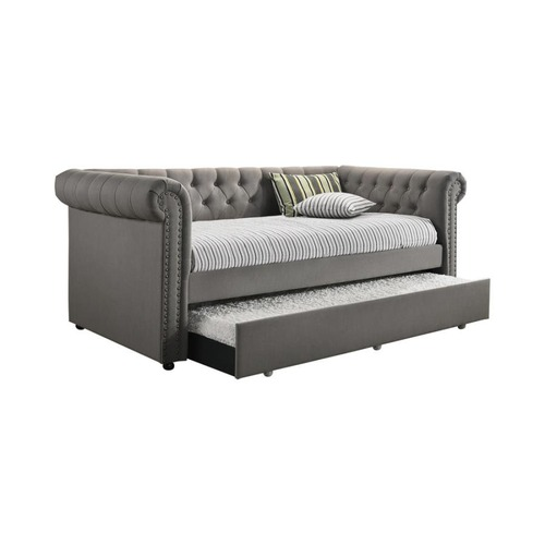Used Twin Daybed W/ Trundle In Grey Fabric Upholstery for sale on AptDeco