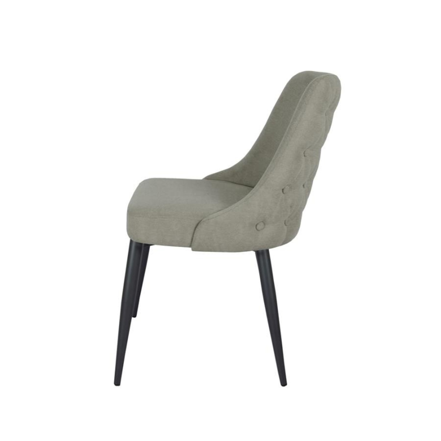 Dining Chair In Off White Microfiber W/Curved Back - image-2