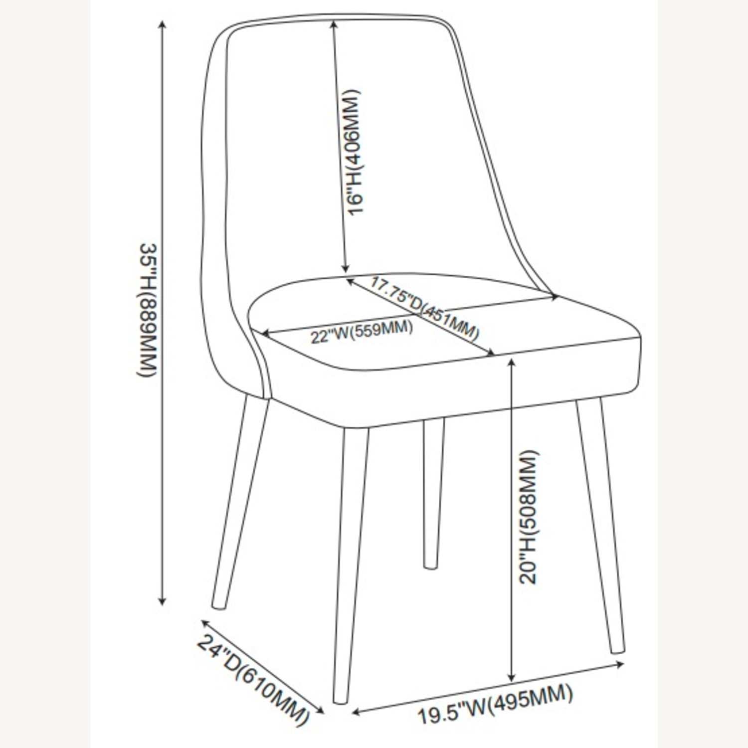 Dining Chair In Off White Microfiber W/Curved Back - image-6