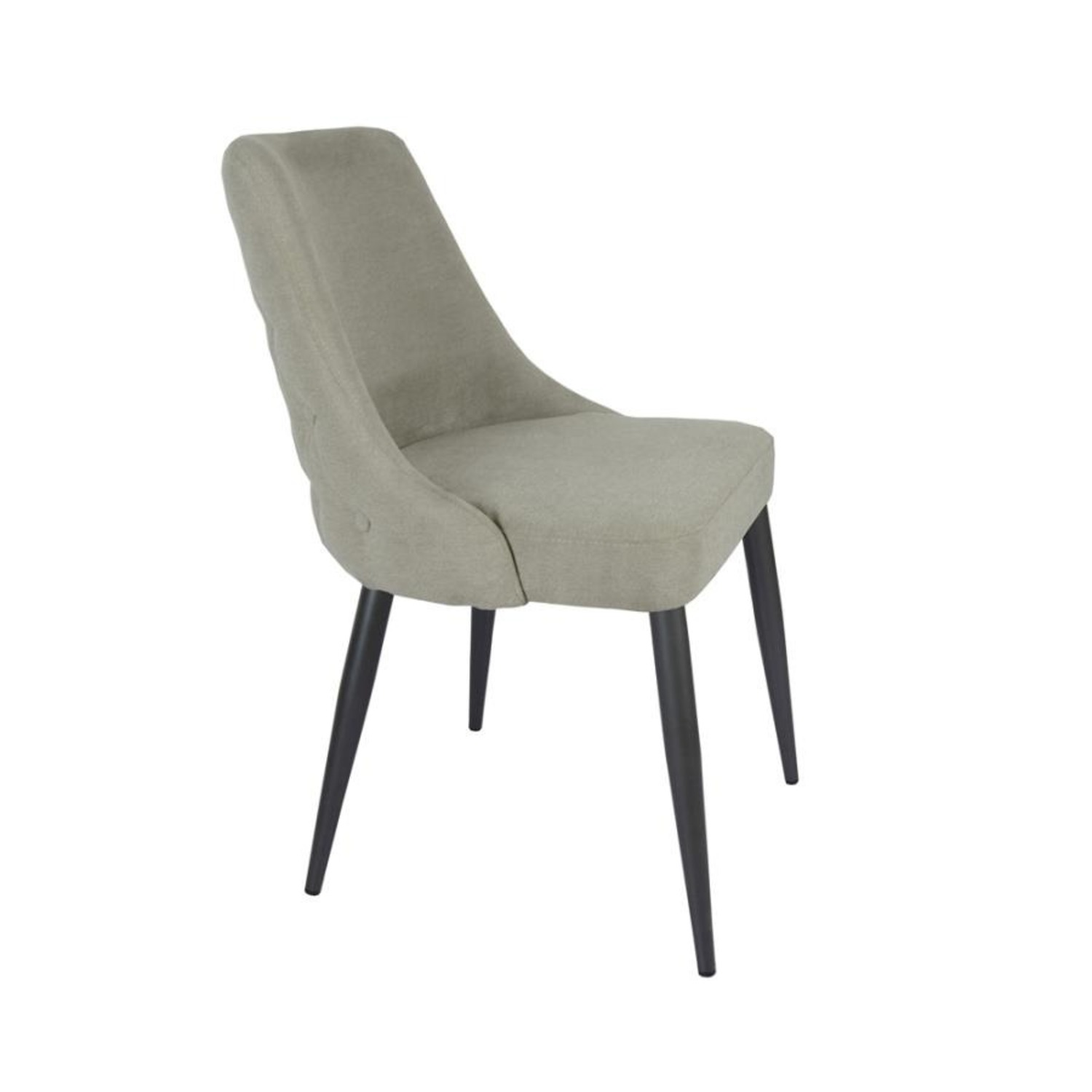 Dining Chair In Off White Microfiber W/Curved Back - image-1