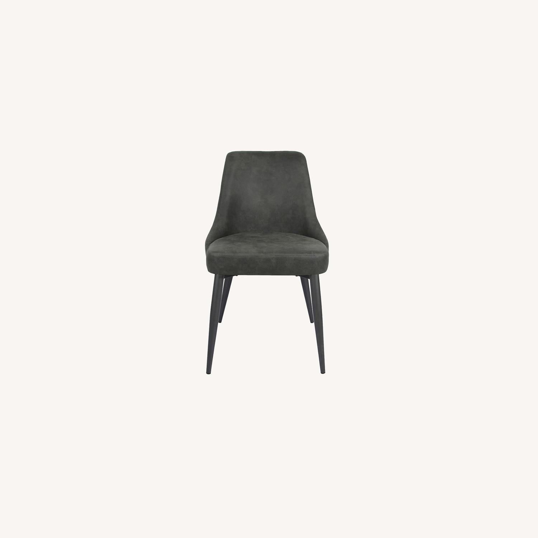 Dining Chair In Light Grey Microfiber & Gunmetal - image-7