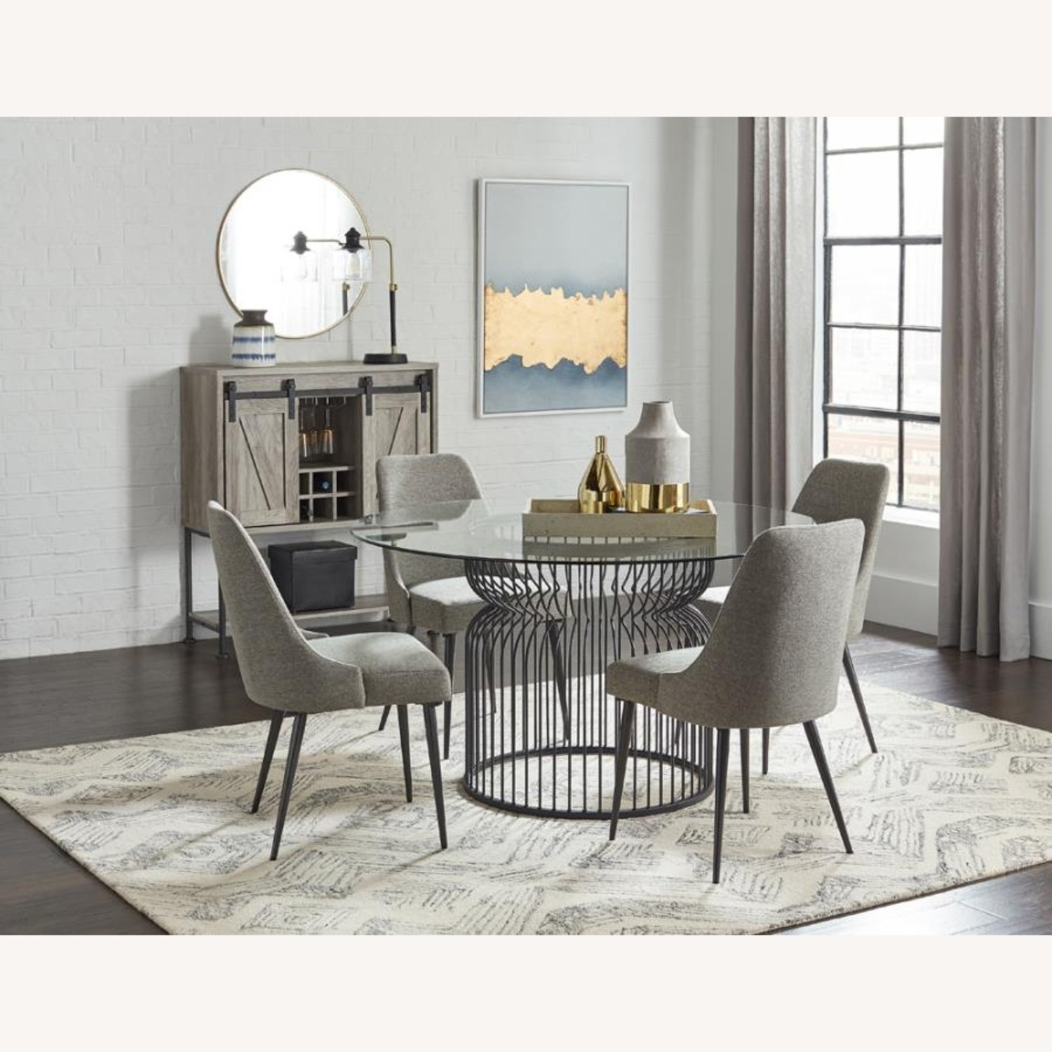 Dining Table In Gunmetal Base W/ Glass Top - image-0