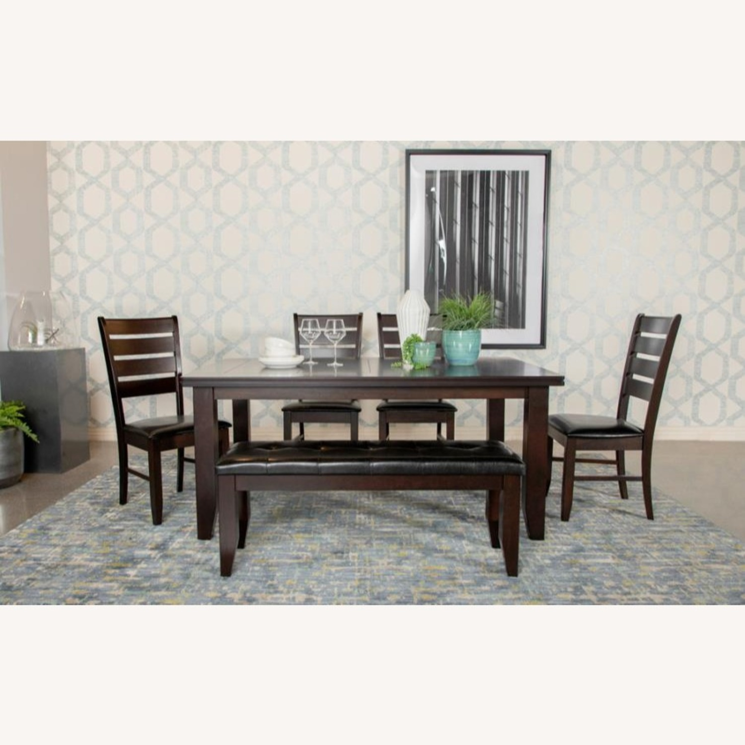 Dining Table In Cappuccino W/ Plank Style Tabletop - image-3