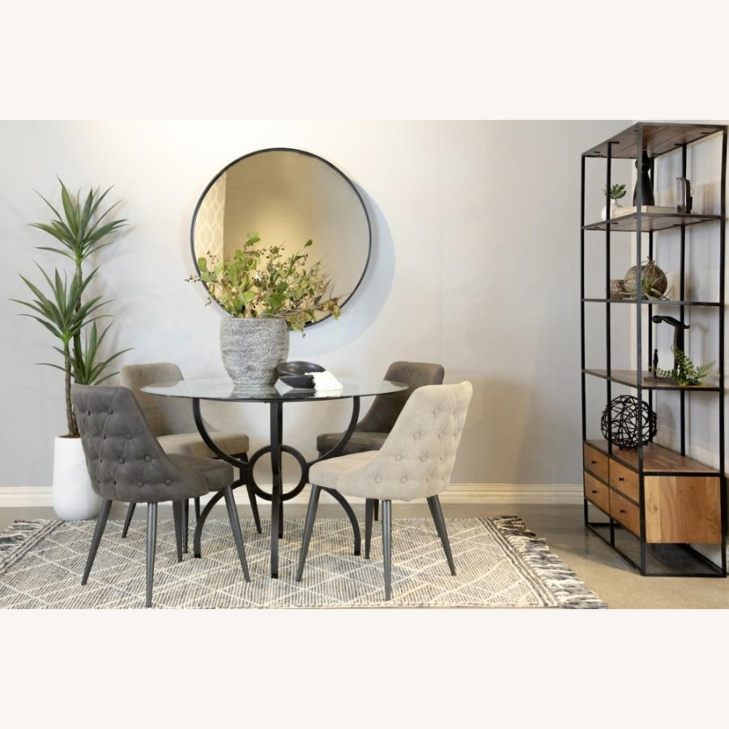 Dining Table In Gunmetal Base W/ Clear Glass Top - image-5