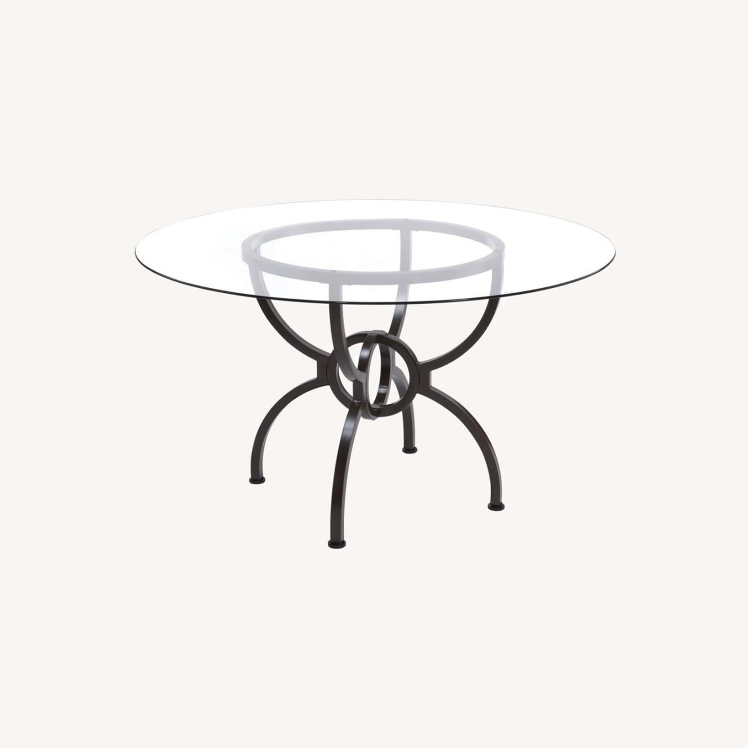 Dining Table In Gunmetal Base W/ Clear Glass Top - image-8