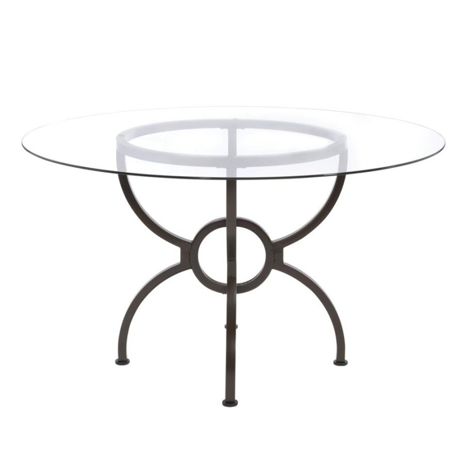 Dining Table In Gunmetal Base W/ Clear Glass Top - image-2