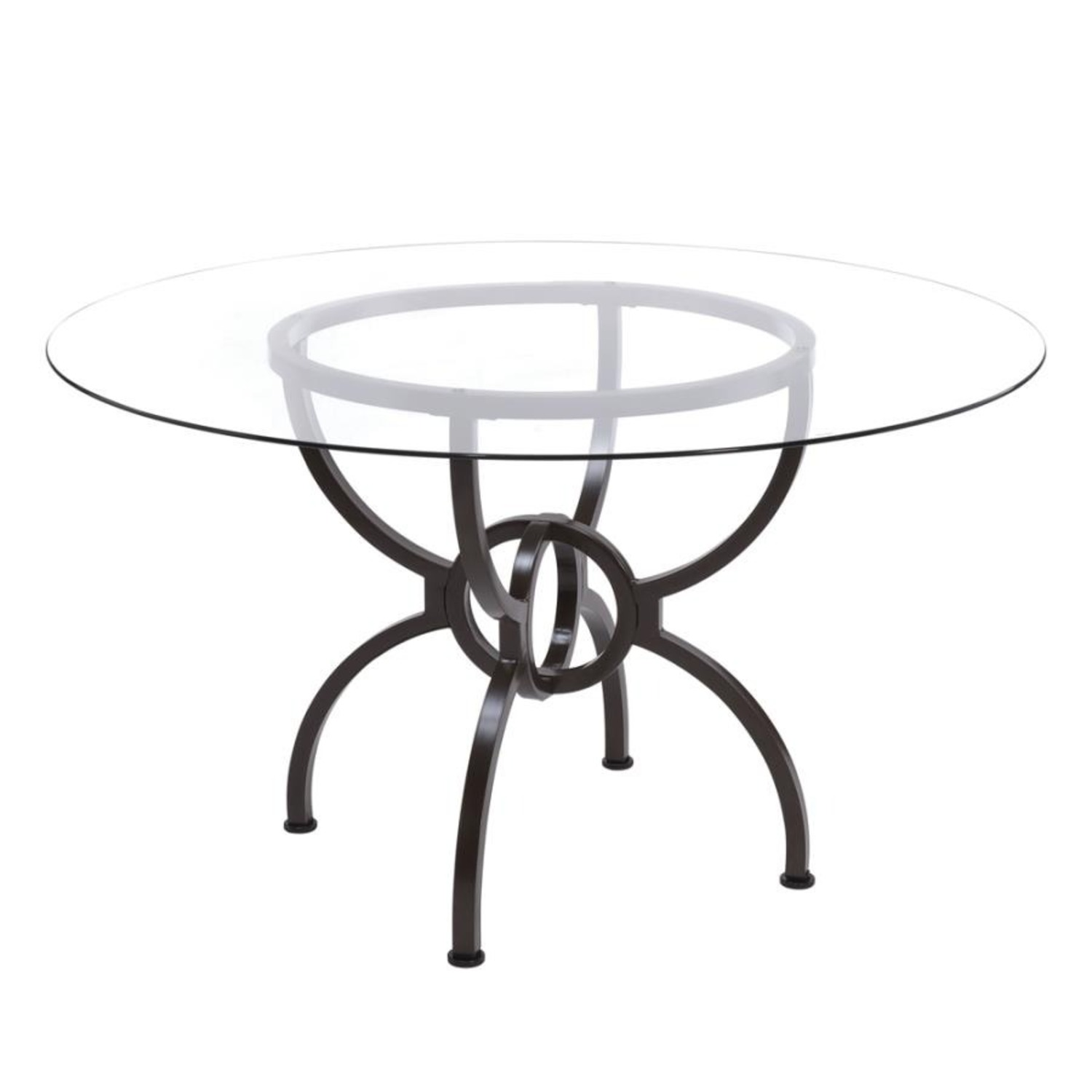 Dining Table In Gunmetal Base W/ Clear Glass Top - image-0
