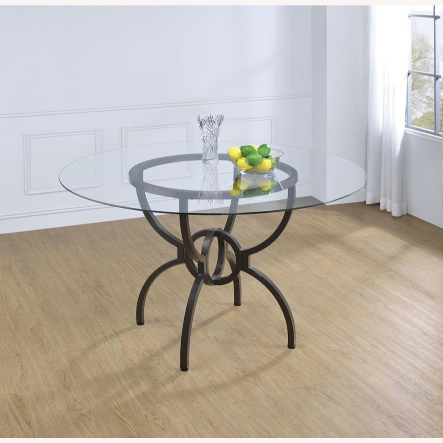 Dining Table In Gunmetal Base W/ Clear Glass Top - image-4