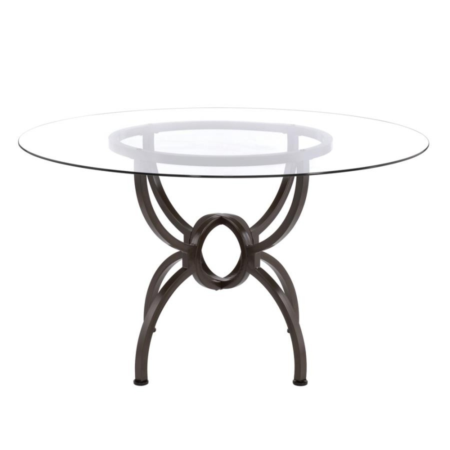 Dining Table In Gunmetal Base W/ Clear Glass Top - image-1