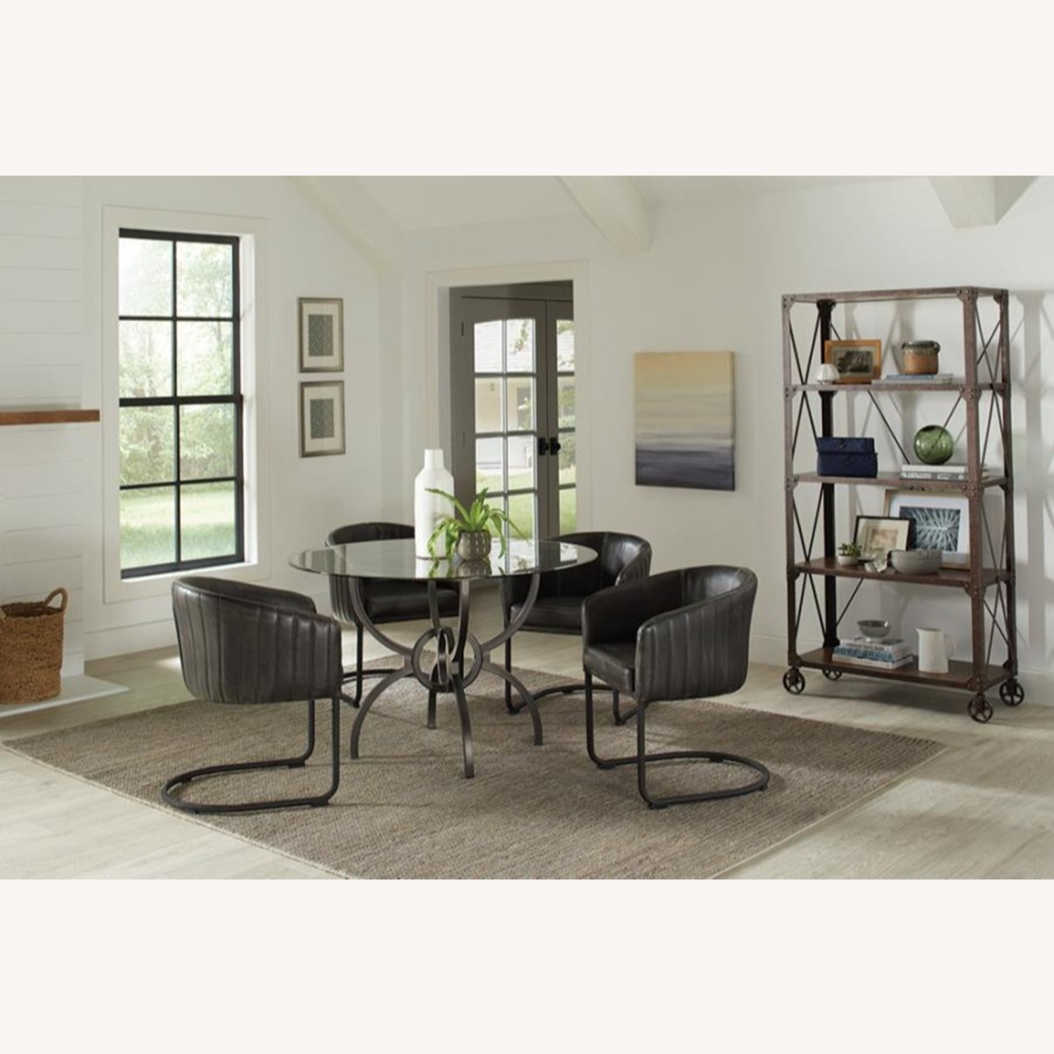 Dining Table In Gunmetal Base W/ Clear Glass Top - image-6