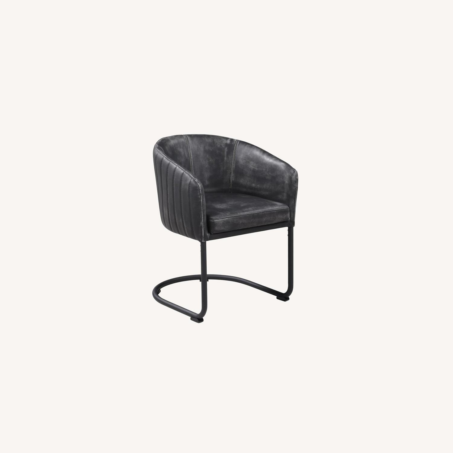 Side Chair In Anthracite Leatherette & Black Base - image-5