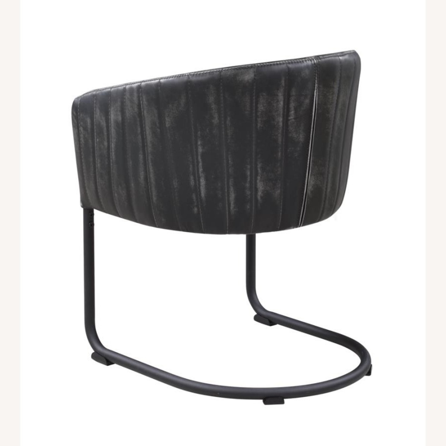 Side Chair In Anthracite Leatherette & Black Base - image-2
