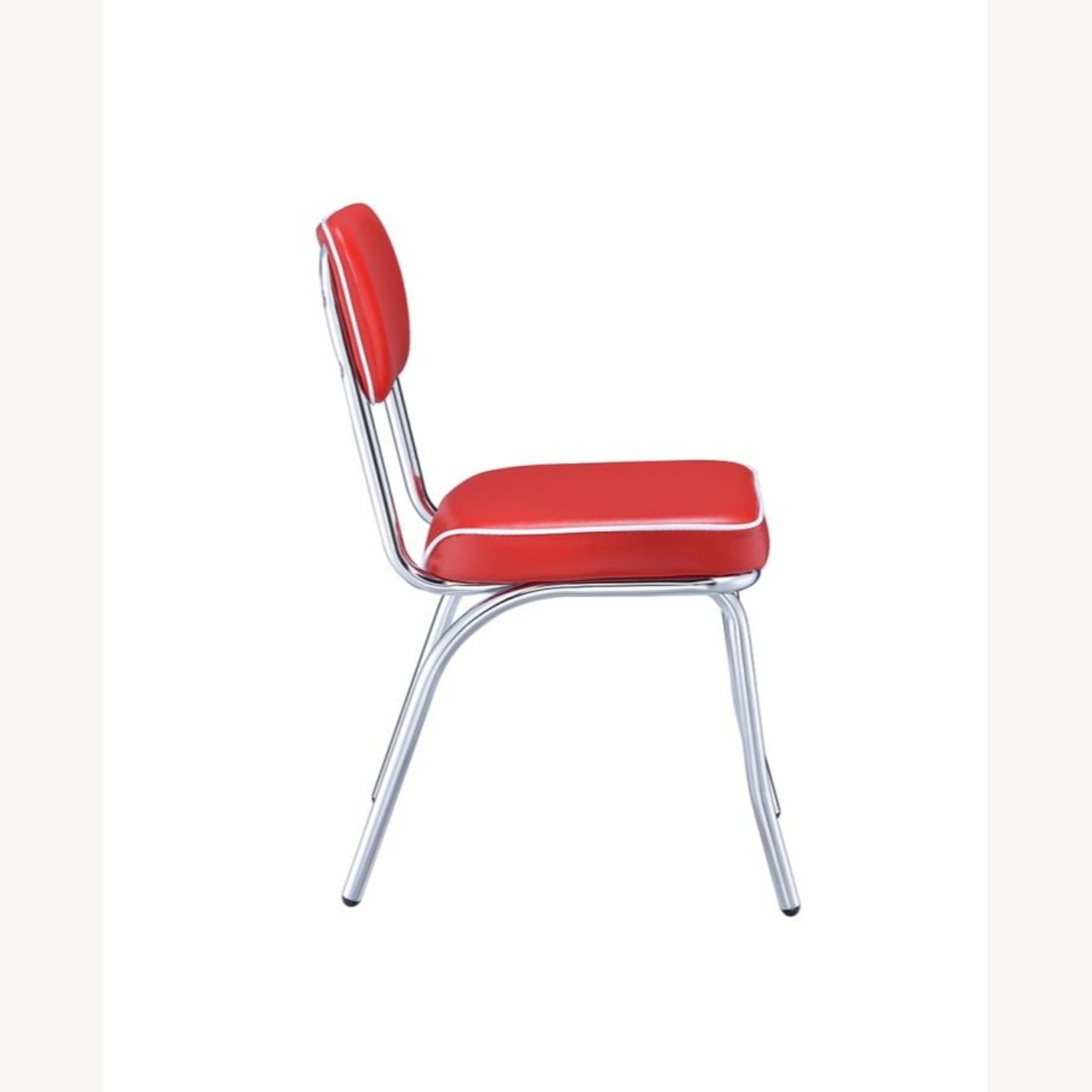 Mid-Century Style Dining Chair In Red Leatherette - image-2