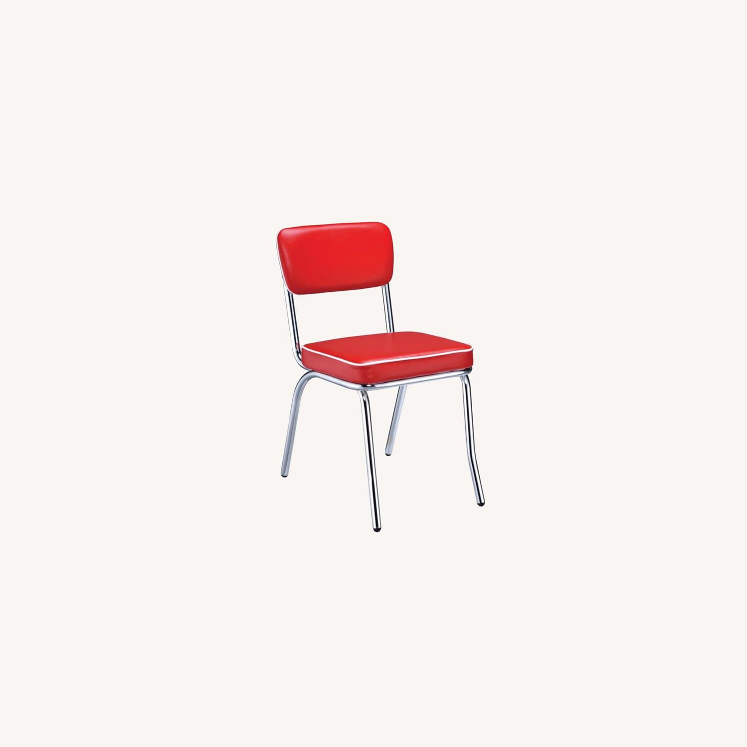 Mid-Century Style Dining Chair In Red Leatherette - image-8