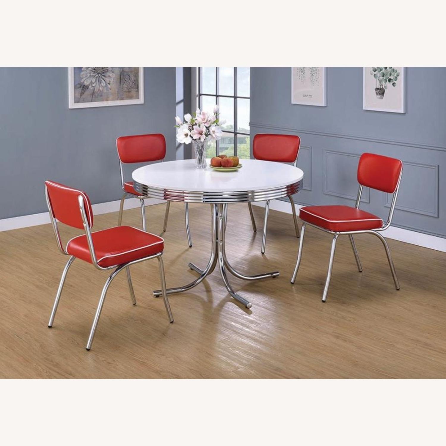 Mid-Century Style Dining Chair In Red Leatherette - image-6