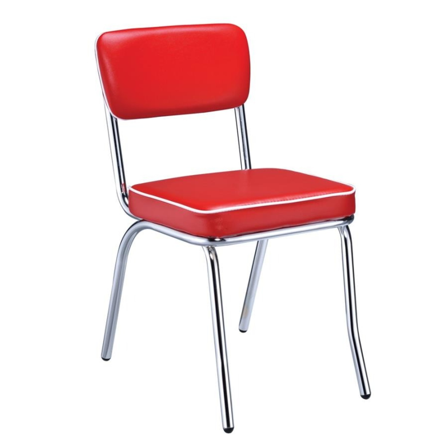 Mid-Century Style Dining Chair In Red Leatherette - image-0