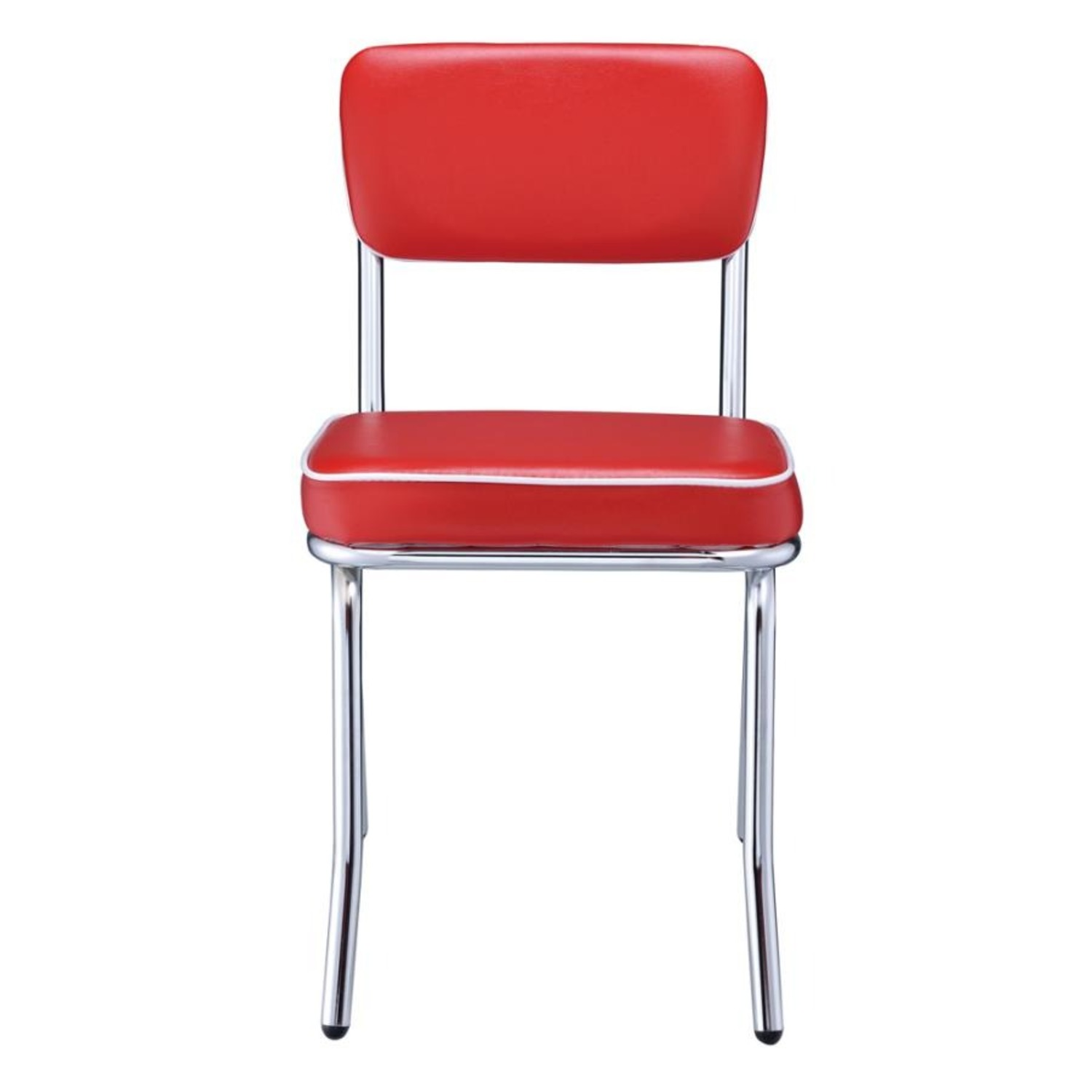 Mid-Century Style Dining Chair In Red Leatherette - image-1