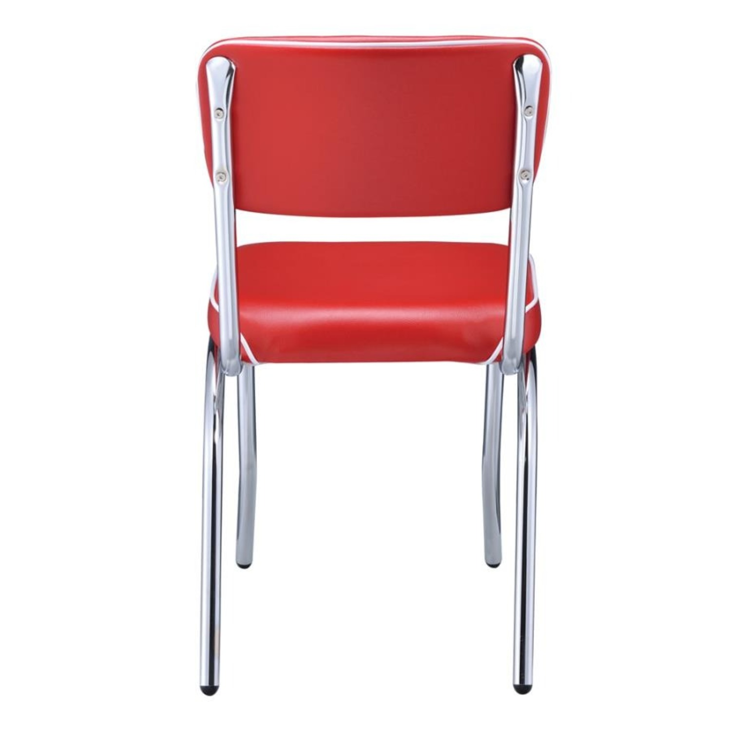 Mid-Century Style Dining Chair In Red Leatherette - image-3