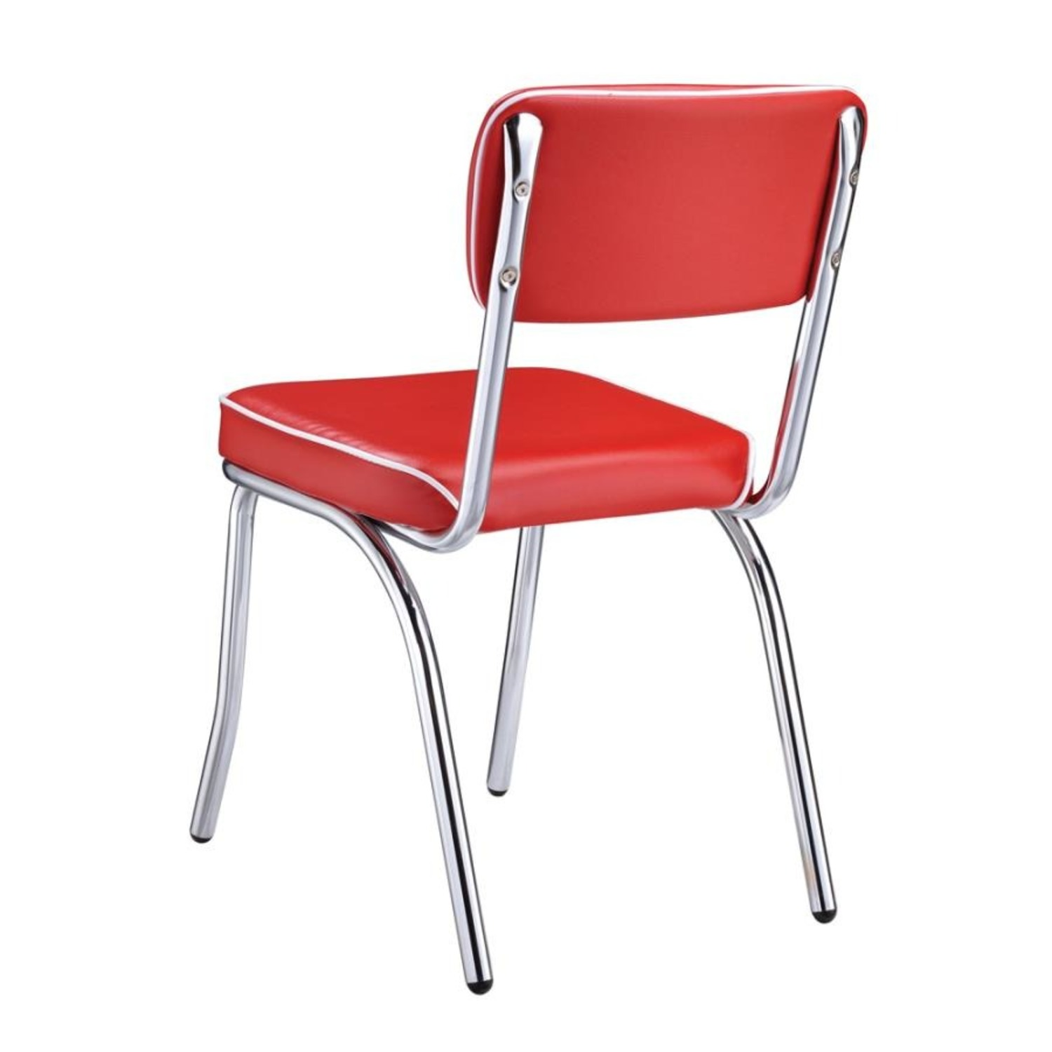 Mid-Century Style Dining Chair In Red Leatherette - image-4