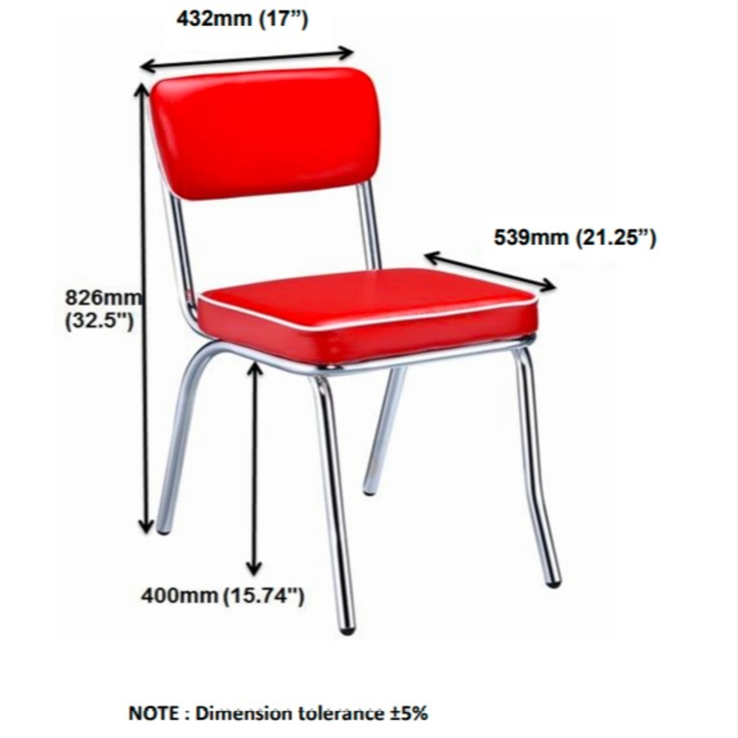 Mid-Century Style Dining Chair In Red Leatherette - image-7