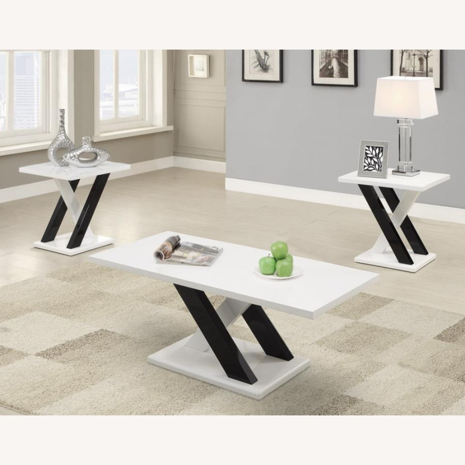 3-Piece Occasional Set In Glossy White Finish - image-0