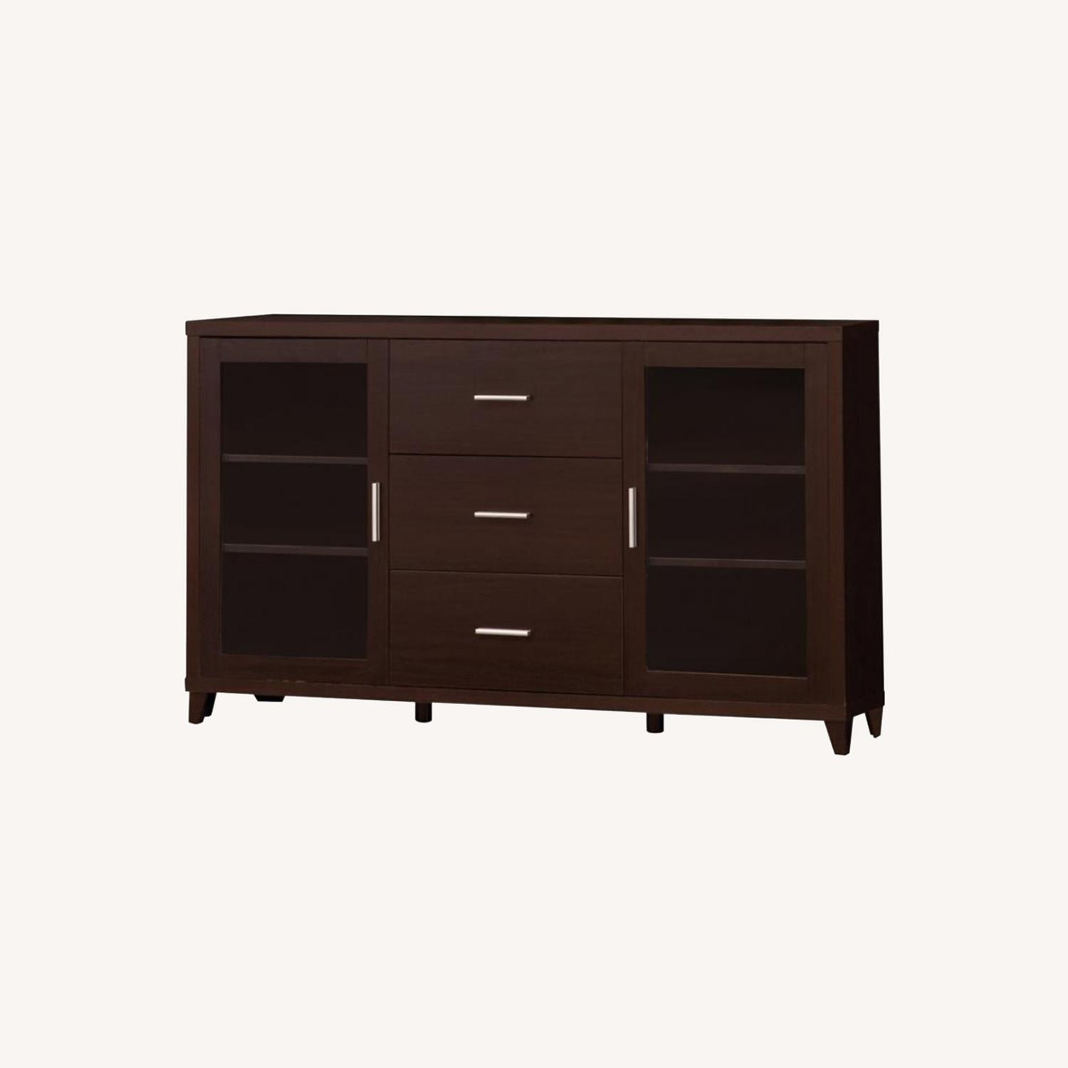 """60"""" TV Console In Cappuccino W/ Glass Framed Doors - image-5"""