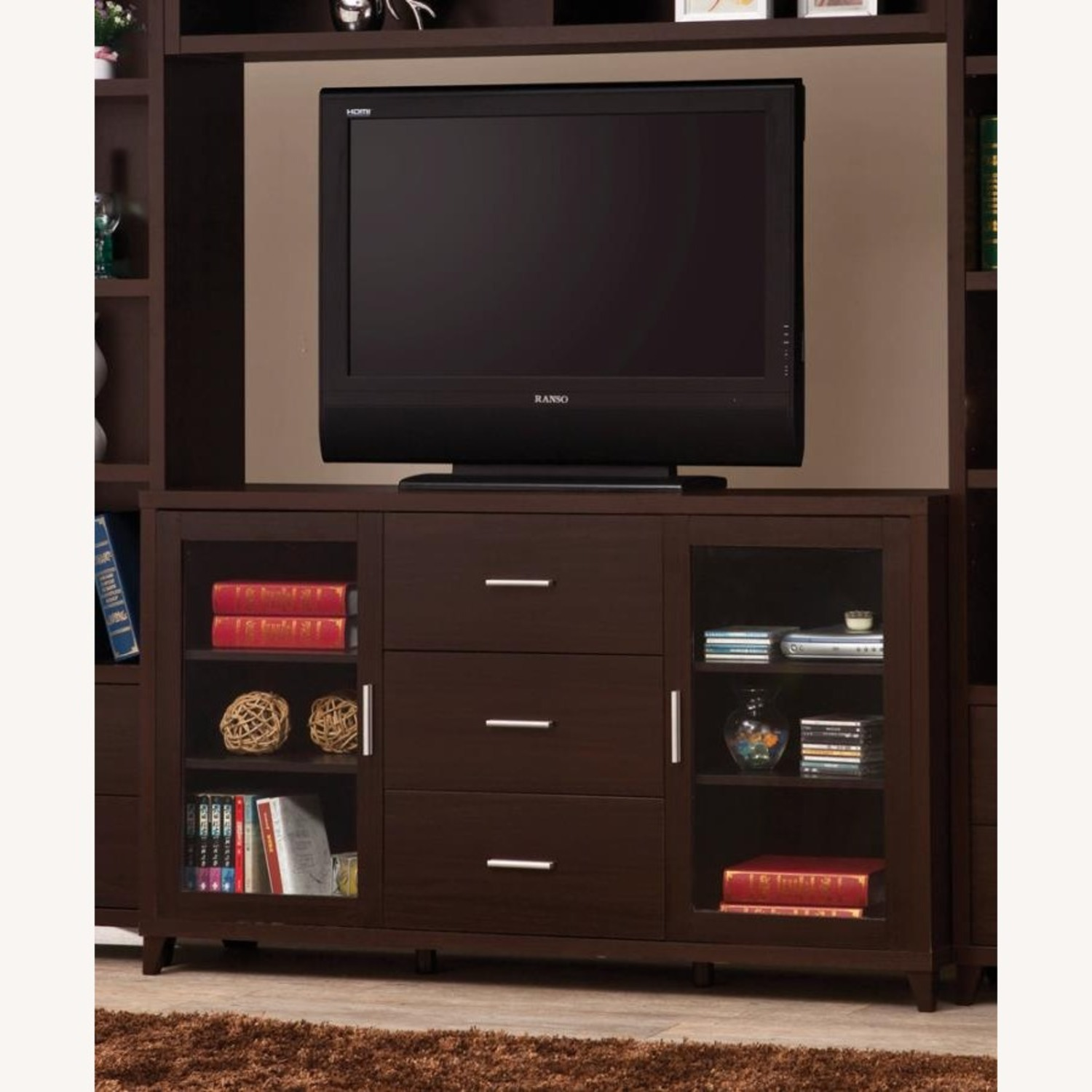 """60"""" TV Console In Cappuccino W/ Glass Framed Doors - image-2"""