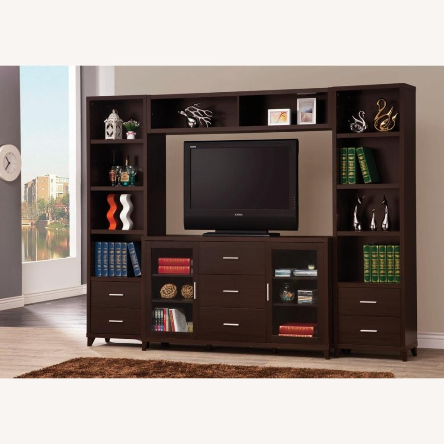 """60"""" TV Console In Cappuccino W/ Glass Framed Doors - image-3"""