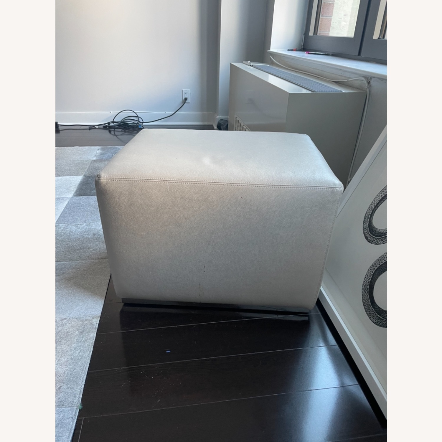 Restoration Hardware Rex Leather Ottoman with Steel Base - image-1