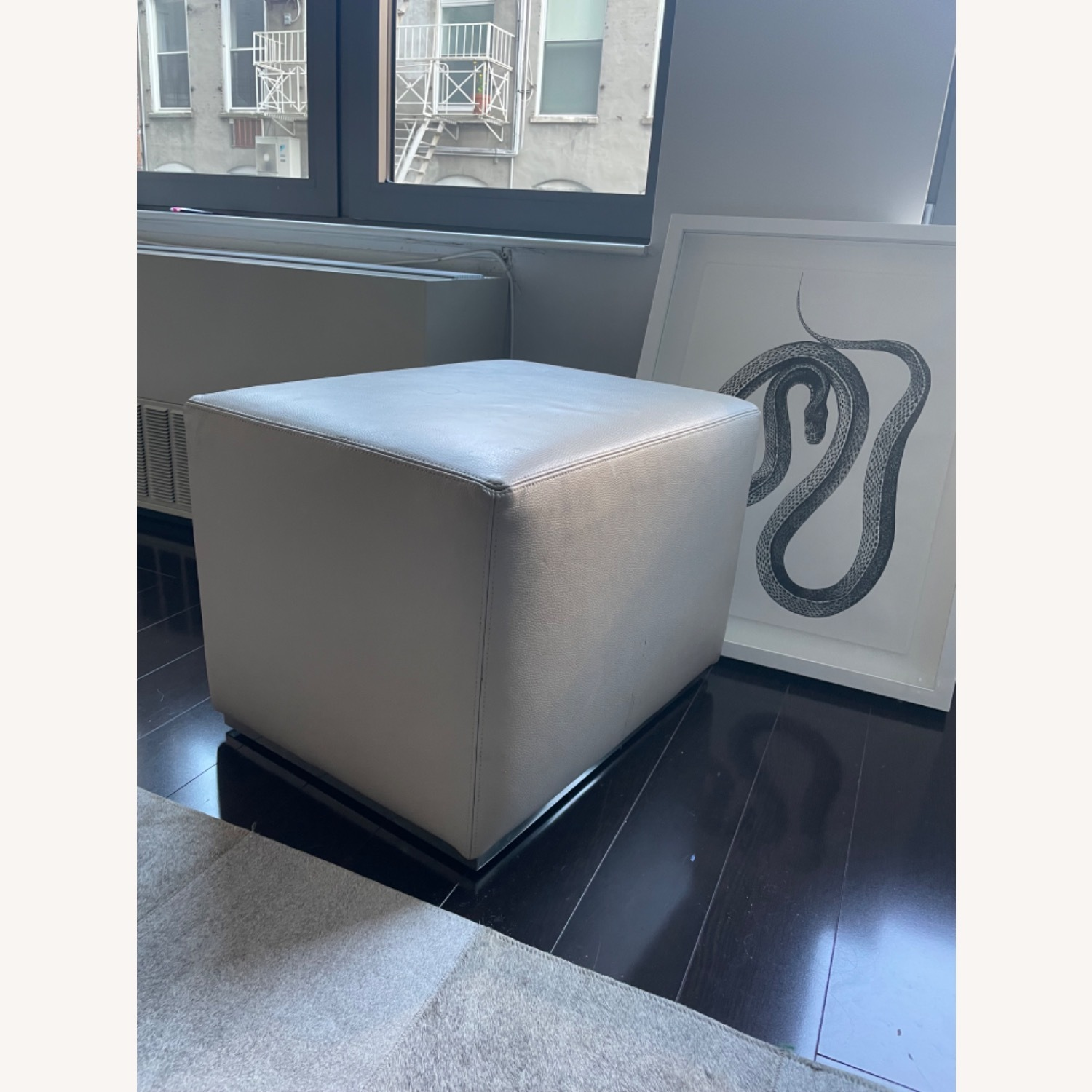 Restoration Hardware Rex Leather Ottoman with Steel Base - image-2