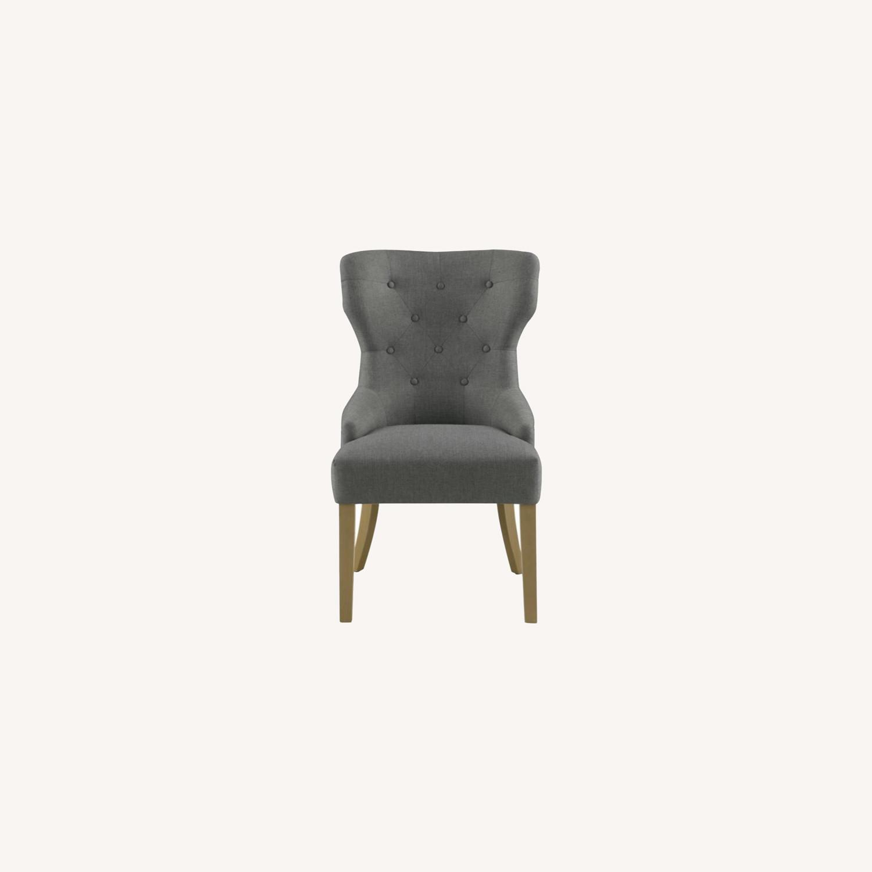 Side Chair In Grey Fabric & Rustic Smoke Finish - image-9