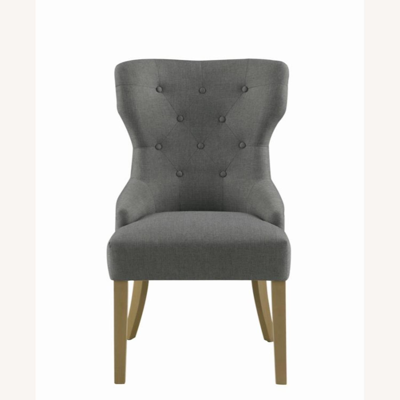 Side Chair In Grey Fabric & Rustic Smoke Finish - image-1