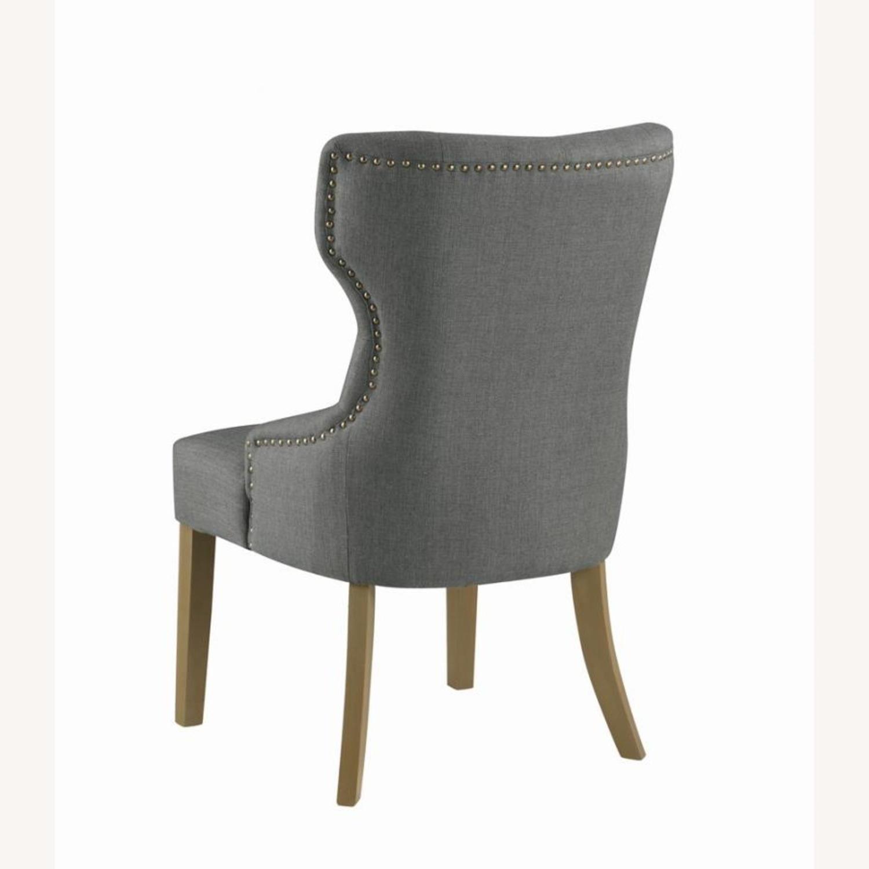 Side Chair In Grey Fabric & Rustic Smoke Finish - image-4