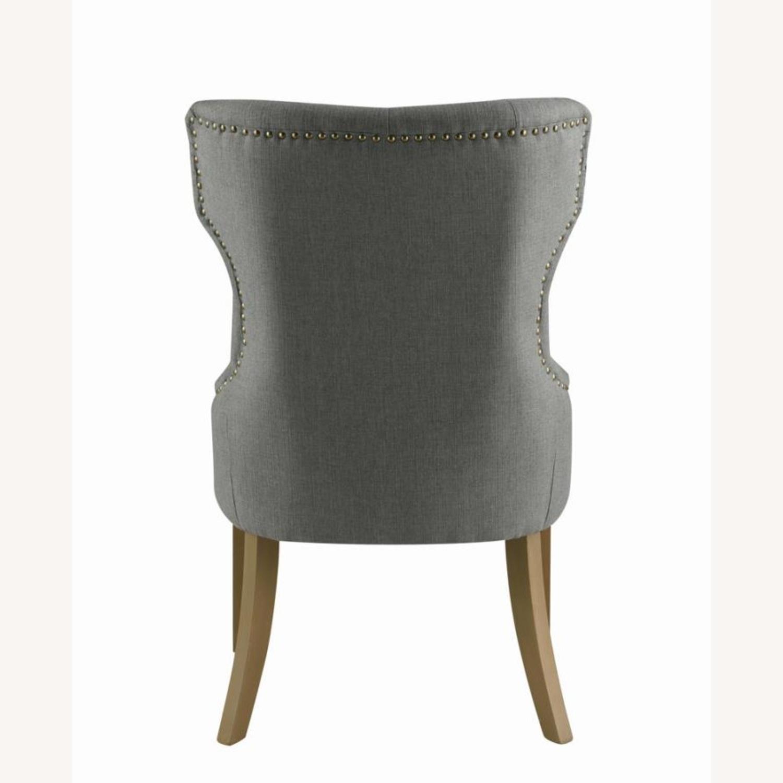 Side Chair In Grey Fabric & Rustic Smoke Finish - image-3