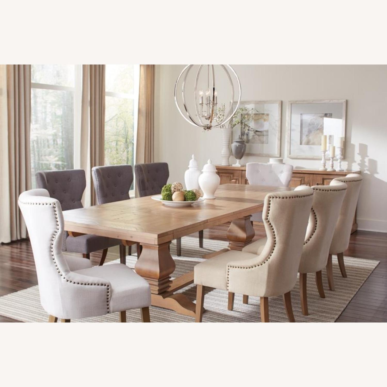 Side Chair In Grey Fabric & Rustic Smoke Finish - image-7