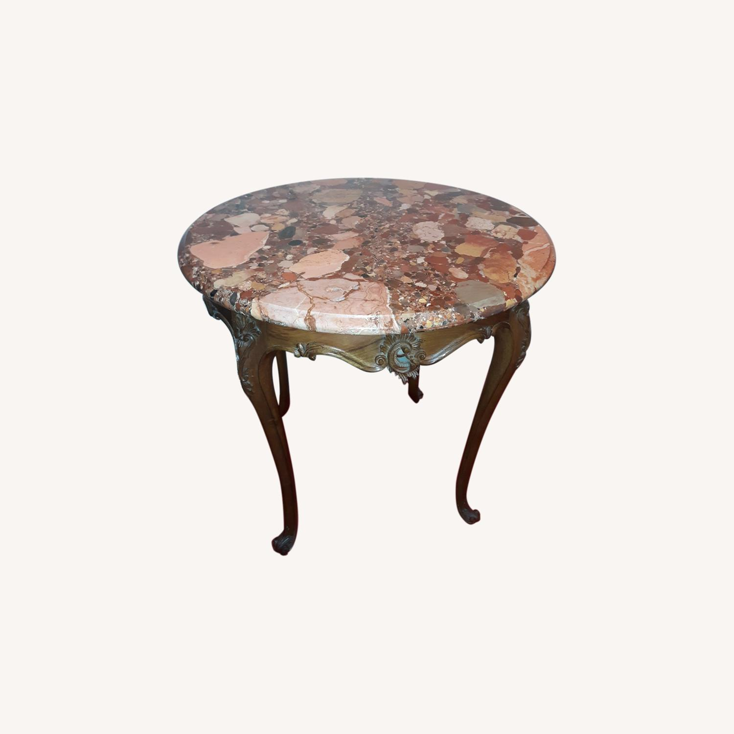 French Provincial Louis XV Round Marble Table - image-0