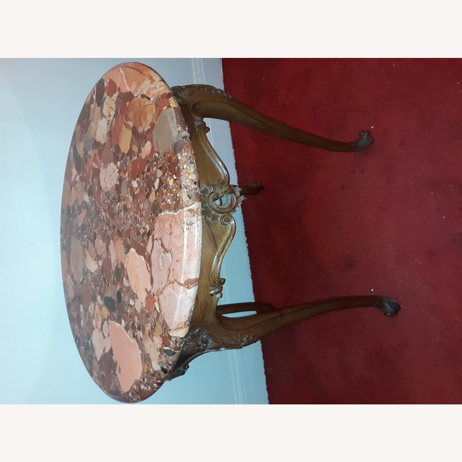 French Provincial Louis XV Round Marble Table - image-1