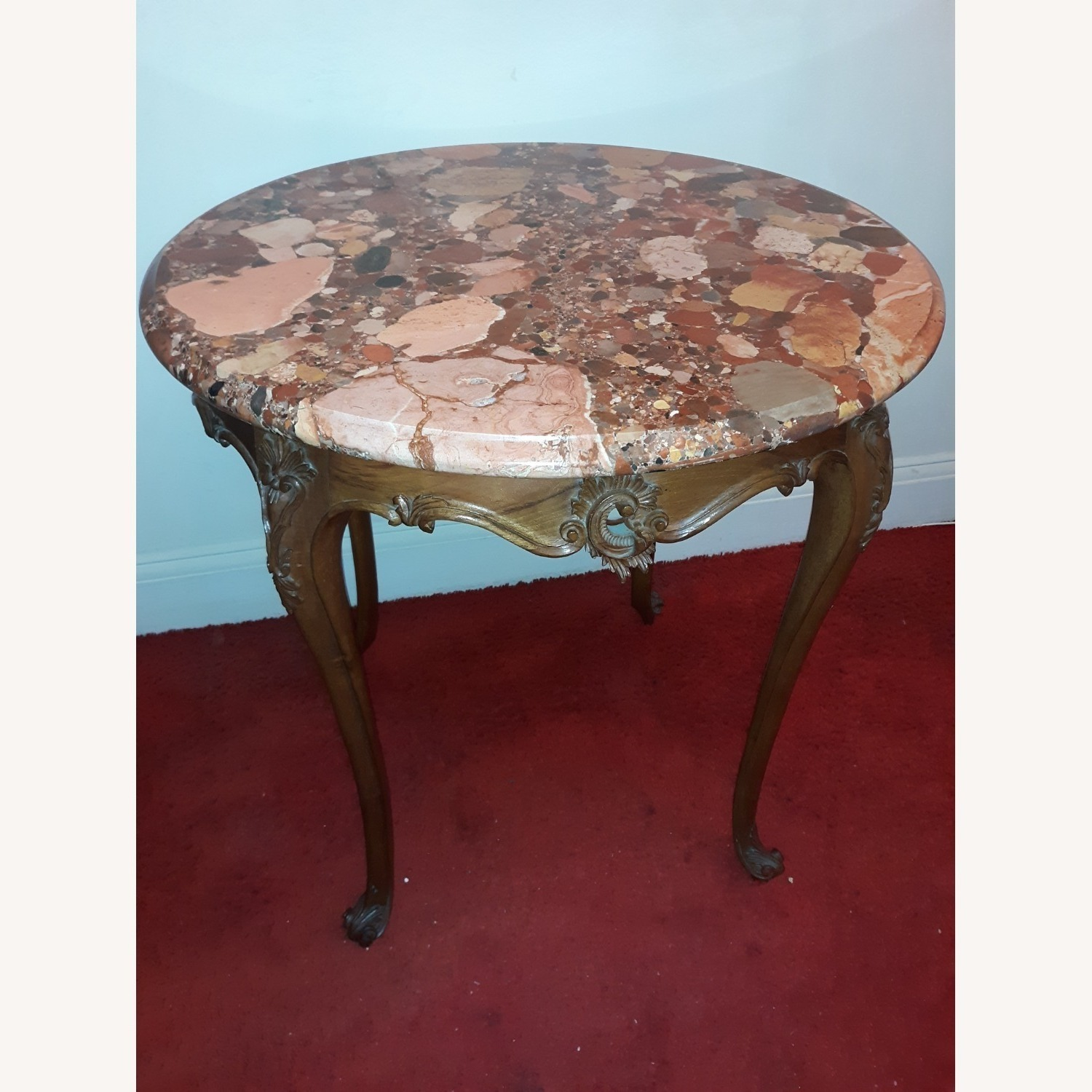 French Provincial Louis XV Round Marble Table - image-6