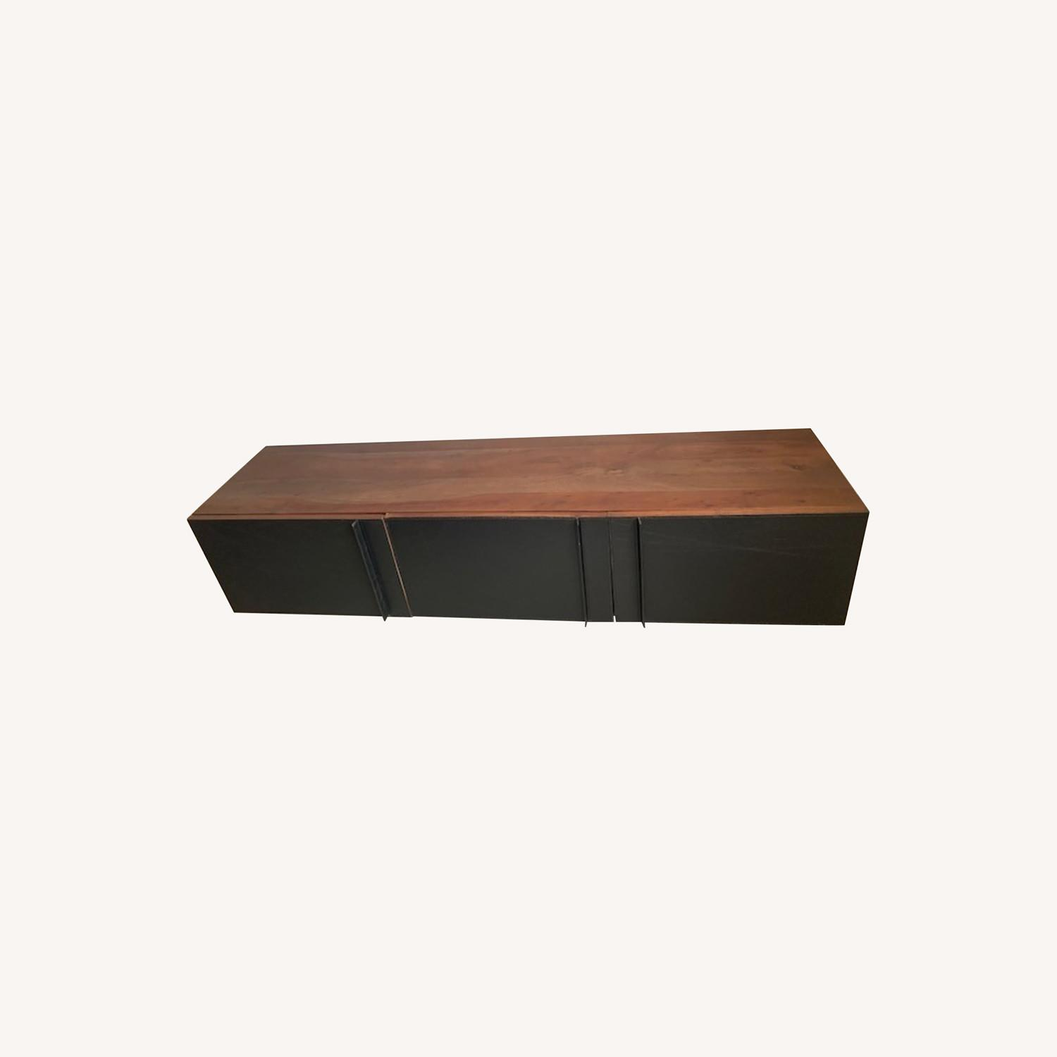 Gather Black Leather Wall Mounted Storage Cabinet - image-0