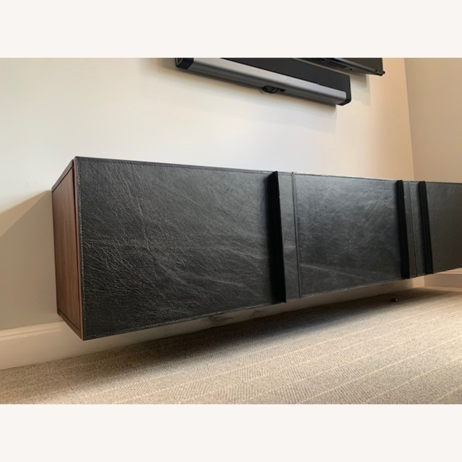 Gather Black Leather Wall Mounted Storage Cabinet - image-5