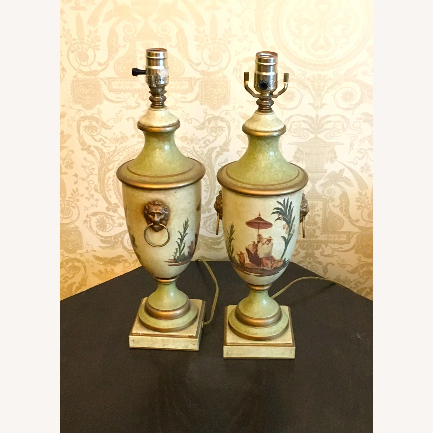 PAIR of Hand Painted Asian Theme Lamps Silk Shades - image-6