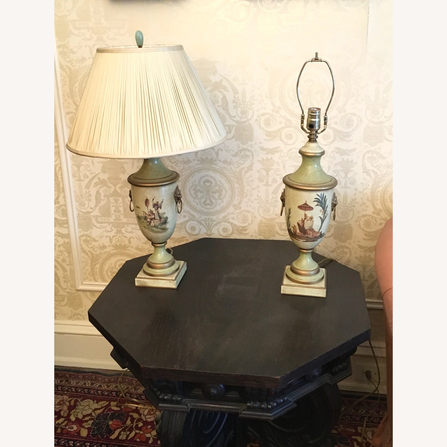 PAIR of Hand Painted Asian Theme Lamps Silk Shades - image-2