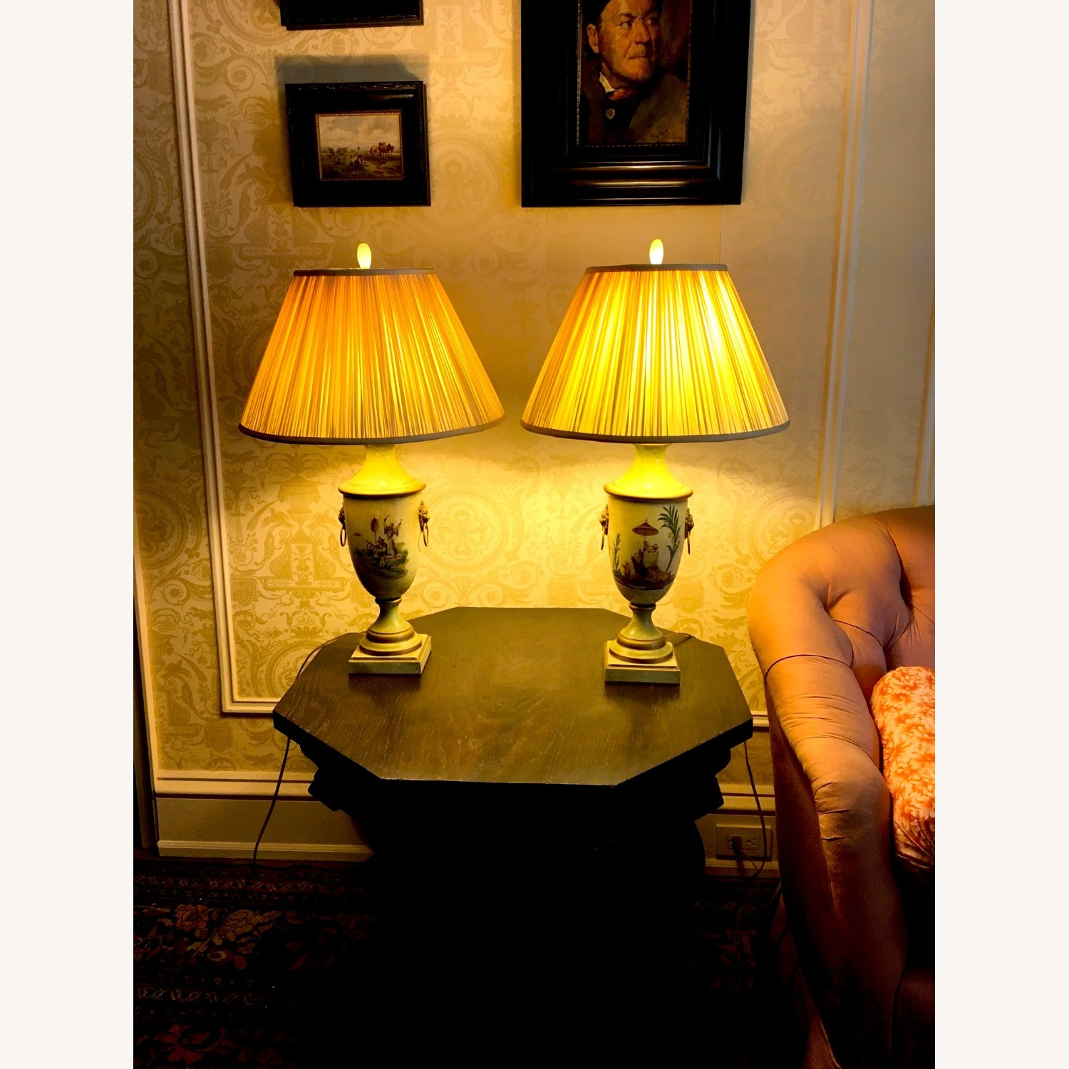 PAIR of Hand Painted Asian Theme Lamps Silk Shades - image-7